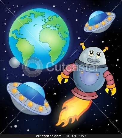 Space theme with flying robot stock vector clipart, Space theme with flying robot - eps10 vector illustration. by Klara Viskova