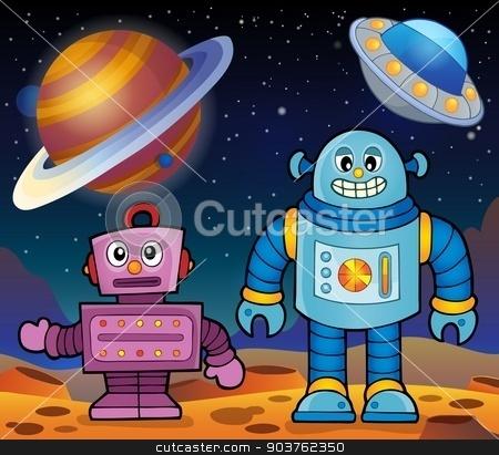Space theme with robots 2 stock vector clipart, Space theme with robots 2 - eps10 vector illustration. by Klara Viskova