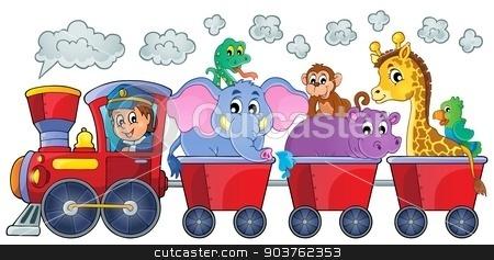 Train with happy animals stock vector clipart, Train with happy animals - eps10 vector illustration. by Klara Viskova