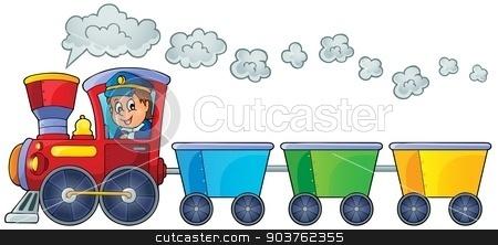 Train with three empty wagons stock vector clipart, Train with three empty wagons - eps10 vector illustration. by Klara Viskova