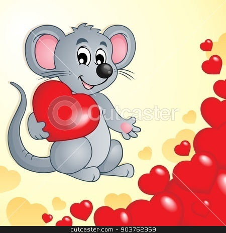 Valentine theme with mouse and hearts stock vector clipart, Valentine theme with mouse and hearts - eps10 vector illustration. by Klara Viskova
