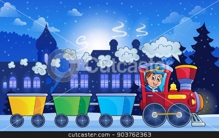 Winter town with train stock vector clipart, Winter town with train - eps10 vector illustration. by Klara Viskova