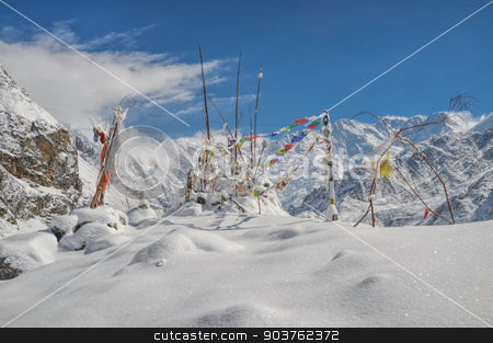Himalayas near Kanchenjunga stock photo, Buddhist prayer flags in Himalayas near Kanchenjunga, the third tallest mountain in the world by Michal Knitl