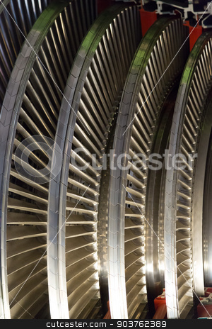 Airplane engine stock photo, Cross section view of the inside of an airplane engine by derejeb