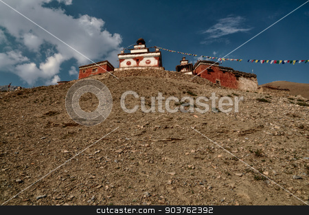 Nepalese shrine stock photo, Scenic old shrine in Himalayas mountains in Nepal by Michal Knitl