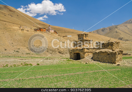 Buddhist shrines stock photo, Scenic old shrines in Dolpo region in Nepal by Michal Knitl