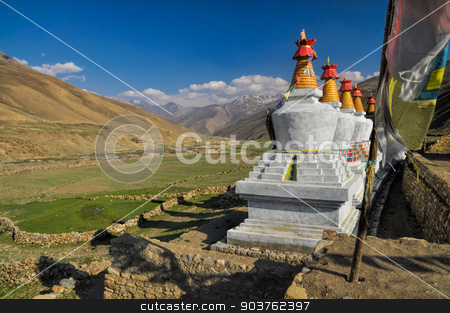 Nepalese settlement stock photo, Picturesque old settlement in Dolpo region in Nepal by Michal Knitl