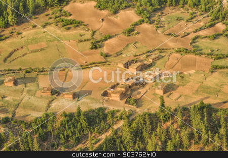 Aerial view of Nepalese settlement stock photo, Aerial view of old settlement in Dolpo region in Nepal by Michal Knitl