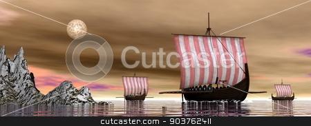 Drakkars or viking ships - 3D render stock photo, Three drakkars or viking ships floating on the ocean night -3D render by Elenarts