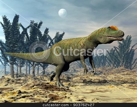 Allosaurus dinosaur - 3D render stock photo, Allosaurus dinosaur walking among pachypteris trees by cloudy night - 3D render by Elenarts