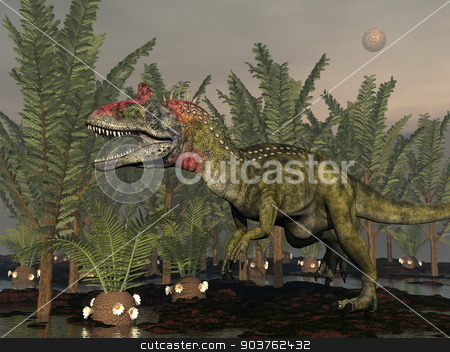 Cryolophosaurus dinosaur - 3D render stock photo, Cryolophosaurus dinosaur walking among pachypteris trees and cycaedeonea plant by cloudy night - 3D render by Elenarts
