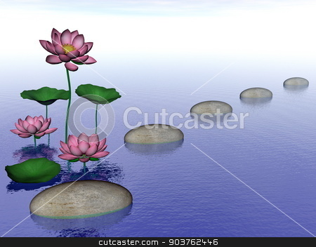 Zen lily flowers - 3D render stock photo, Pink lily flowers and leaves next to pebbles upon water by day - 3D render by Elenarts