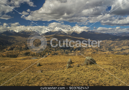 Cordillera Negra in Peru stock photo, Panoramic view of clouds passing over slopes of Peruvian Cordillera Negra by Michal Knitl