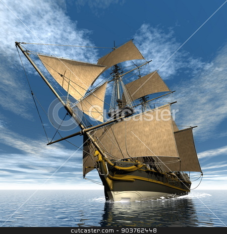 Licorne ship - 3D render stock photo, Beautiful detailed old Licorne ship floating on the ocean by day - 3D render by Elenarts