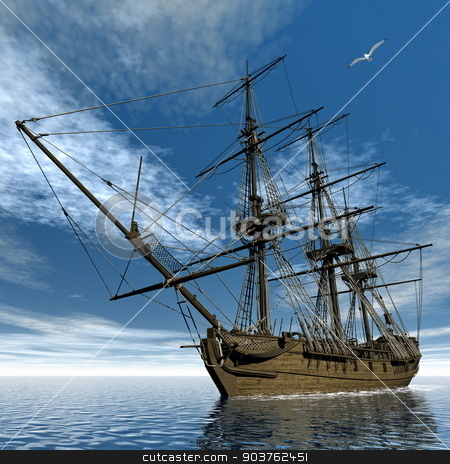 French frigate Medusa, 1810 - 3D render stock photo, Beautiful detailed old french frigate Medusa, 1810, floating on the ocean by day next to seagulls - 3D render by Elenarts