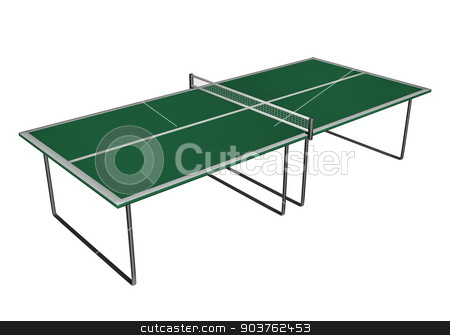 Tennis table - 3D render stock photo, Tennis or ping-pong table isolated in white background - 3D render by Elenarts