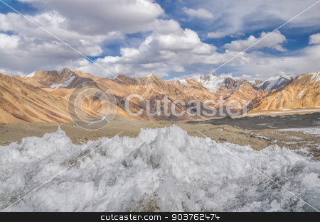 Ice crystals in Tajikistan stock photo, Ice crystals in scenic valley in Pamir mountains in Tajikistan by Michal Knitl
