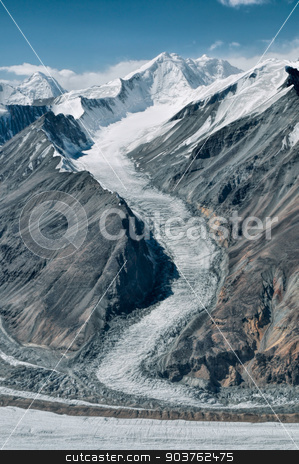 Glacier in Tajikistan stock photo, Scenic glacier in Pamir mountains in Tajikistan by Michal Knitl