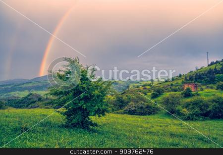 Karabach stock photo, Rainbow over green landscape of mountainous Karabakh by Michal Knitl