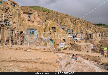 Kandovan stock photo, Scenic view of cone shaped dwellings in Kandovan village in Iran by Michal Knitl
