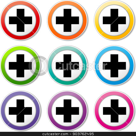 plus cross icons stock vector clipart, illustration of various color set of plus icons by Nickylarson974