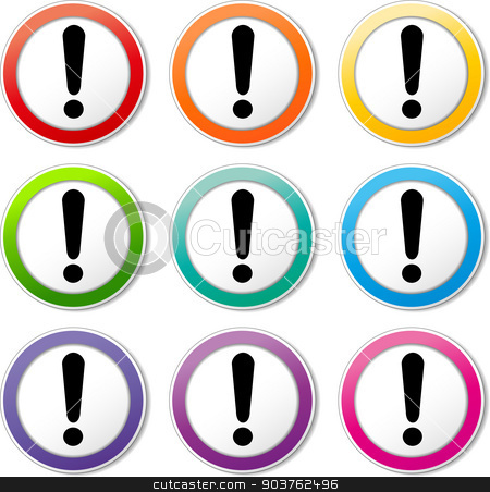 alert icons stock vector clipart, illustration of various color set of alert icons by Nickylarson974