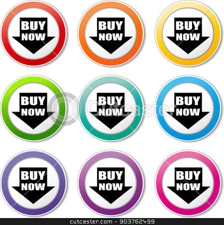 buy now icons stock vector clipart, illustration of various color set of buy now icons by Nickylarson974