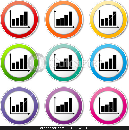 financial graph icons stock vector clipart, illustration of various color set of graph icons by Nickylarson974