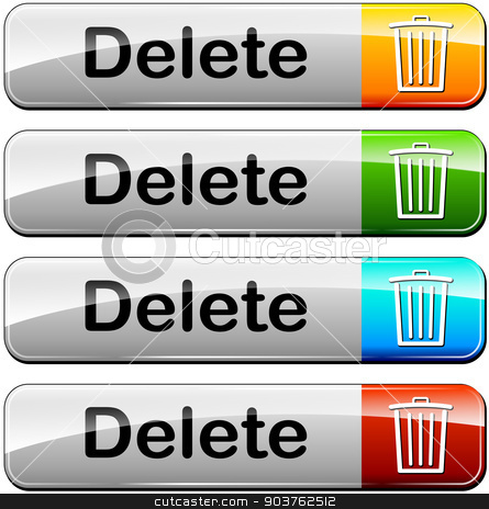 delete buttons stock vector clipart, illustration of various colors set for delete buttons by Nickylarson974
