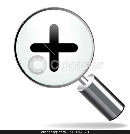 zoom plus icon stock vector clipart, illustration of magnifying zoom plus icon on white background by Nickylarson974
