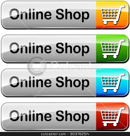 online shop buttons stock vector clipart, illustration of various colors set for online shop buttons by Nickylarson974
