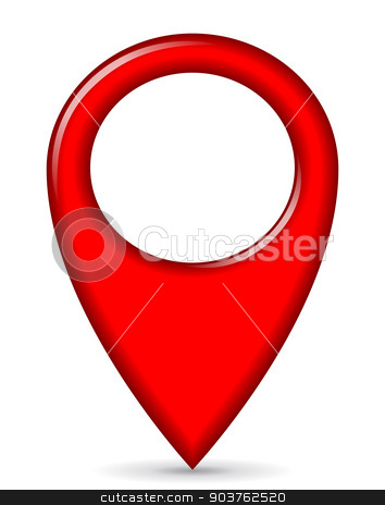 red gps pointer stock vector clipart, illustration of red gps pointer design icon by Nickylarson974