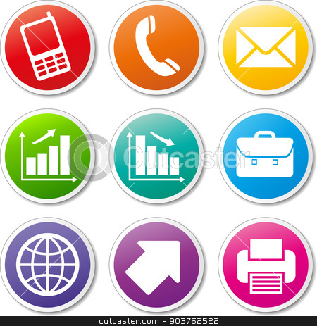 business icons set stock vector clipart, illustration of colorful business various icons set by Nickylarson974
