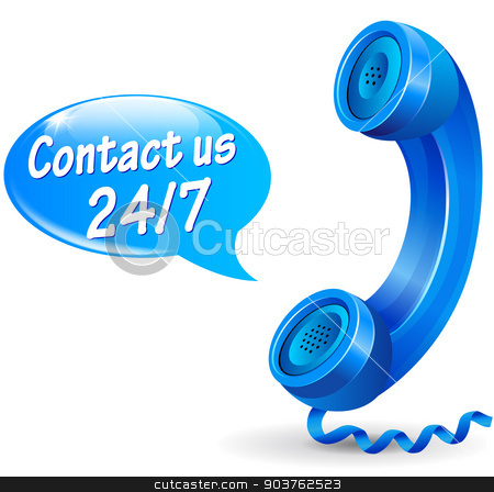 contact us icon stock vector clipart, illustration of 24 hours service phone design icon by Nickylarson974