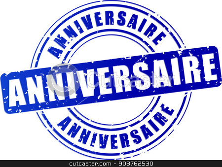 anniversary blue stamp stock vector clipart, french translation of anniversary blue design stamp by Nickylarson974