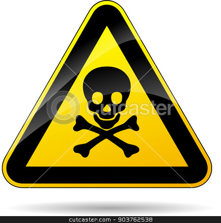 risk of dead sign stock vector clipart, illustration of risk of dead triangle yellow sign by Nickylarson974