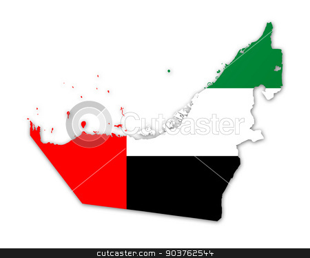 Map and flag of United Arab Emirates stock photo, Illustration of a map with a flag of United Arab Emirates by MIPImages