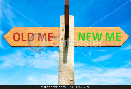 Wooden signpost with two opposite arrows over clear blue sky, Old Me and New Me, Life change conceptual image stock photo, Wooden signpost with two opposite arrows over clear blue sky, Old Me and New Me, Life change conceptual image by Constantin Stanciu