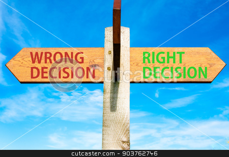 Wooden signpost with two opposite arrows over clear blue sky, Right Decision and Wrong Decision, Right choice conceptual image stock photo, Wooden signpost with two opposite arrows over clear blue sky, Right Decision and Wrong Decision, Right choice conceptual image by Constantin Stanciu
