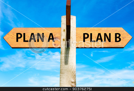 Wooden signpost with two opposite arrows over clear blue sky, Plan A and Plan B, Right choice conceptual image stock photo, Wooden signpost with two opposite arrows over clear blue sky, Plan A and Plan B, Right choice conceptual image  by Constantin Stanciu
