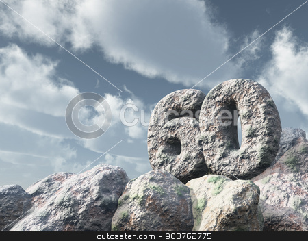 number sixty rock stock photo, number sixty rock under cloudy blue sky - 3d illustration by J?