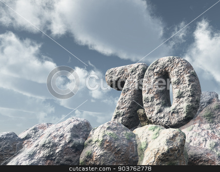 number seventy rock stock photo, number seventy rock under cloudy blue sky - 3d illustration by J?