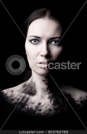 grungy portrait stock photo, dark grungy portrait of a young girl on a black background with a ragged outline below the shoulder by Suchota