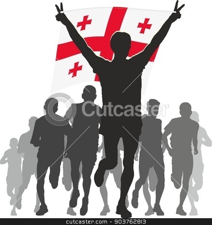 Athlete with the Georgia flag at the finish stock vector clipart, Illustration silhouettes of athletes, runners at the finish, winner holding Georgia flag overhead by Čerešňák