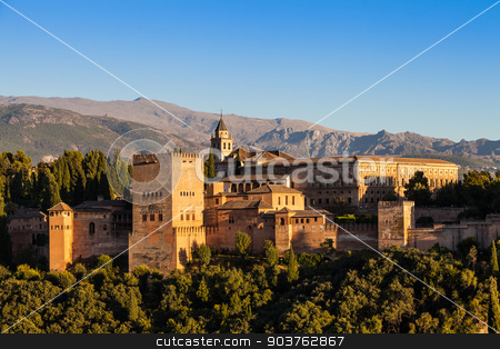 Granada - Alhambra Palace stock photo, Famous Alhambra Royal Palace (UNESCO heritage) from the view point in front of the Alhambra hill by Paolo Gallo