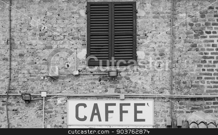 Coffee sign in Italy stock photo, Tuscany, Italy. Old Caffè sign under a traditional Italian window by Paolo Gallo
