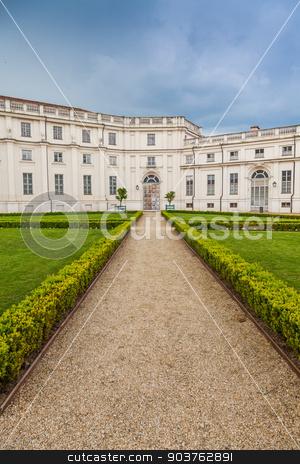 Palazzina di Stupinigi stock photo, Stupinigi, Italy. Detail of the Palazzina di Stupinigi exterior, Royal residence since to 1946. by Paolo Gallo