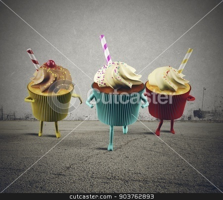 Run cupcake stock photo, Big cupcake delicious and very colorful racing by Federico Caputo