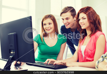 group of smiling students having discussion stock photo, education, technology, school and people concept - group of smiling students having discussion in computer class at school by Syda Productions