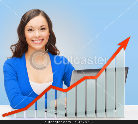 smiling woman with laptop and growth chart stock photo, people, technology, statistic sand business concept - smiling woman in blue clothes with laptop computer over blue background and growth chart by Syda Productions